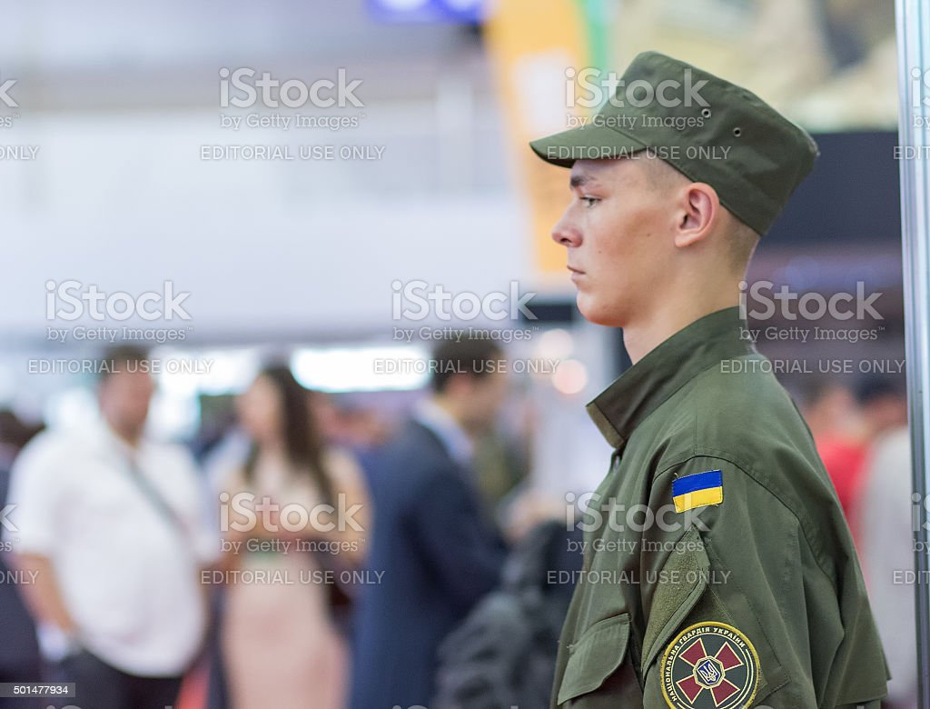 Young soldier from the National Guard of Ukraine stock photo