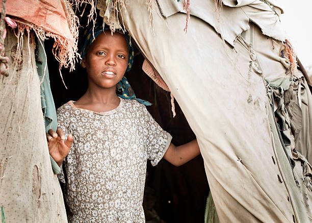 Young Somali Girl in a Nomadic Hut stock photo
