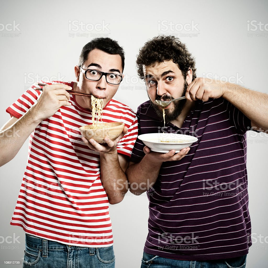 Young soup eaters royalty-free stock photo