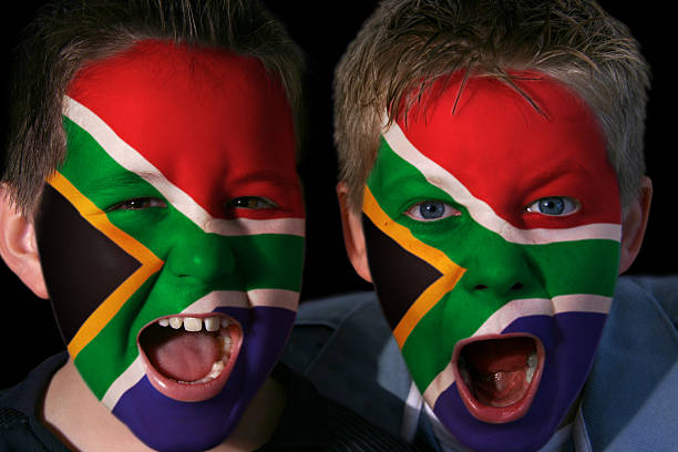 Young South African Rugby Fans stock photo