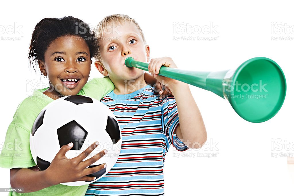 Young South African soccer fans for world championship stock photo