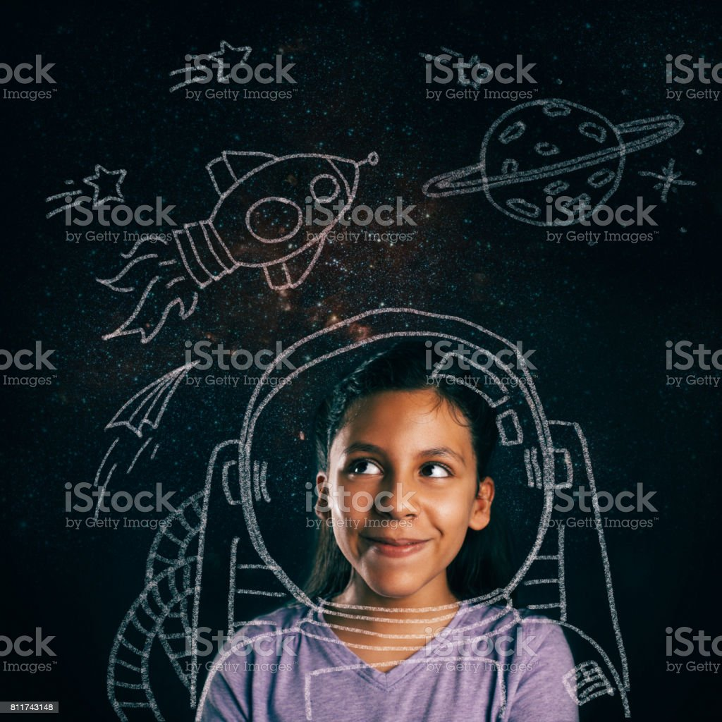 young space explorer aspirations stock photo