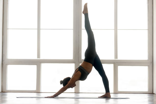Young sporty attractive woman practicing yoga, doing Downward facing dog stock photo