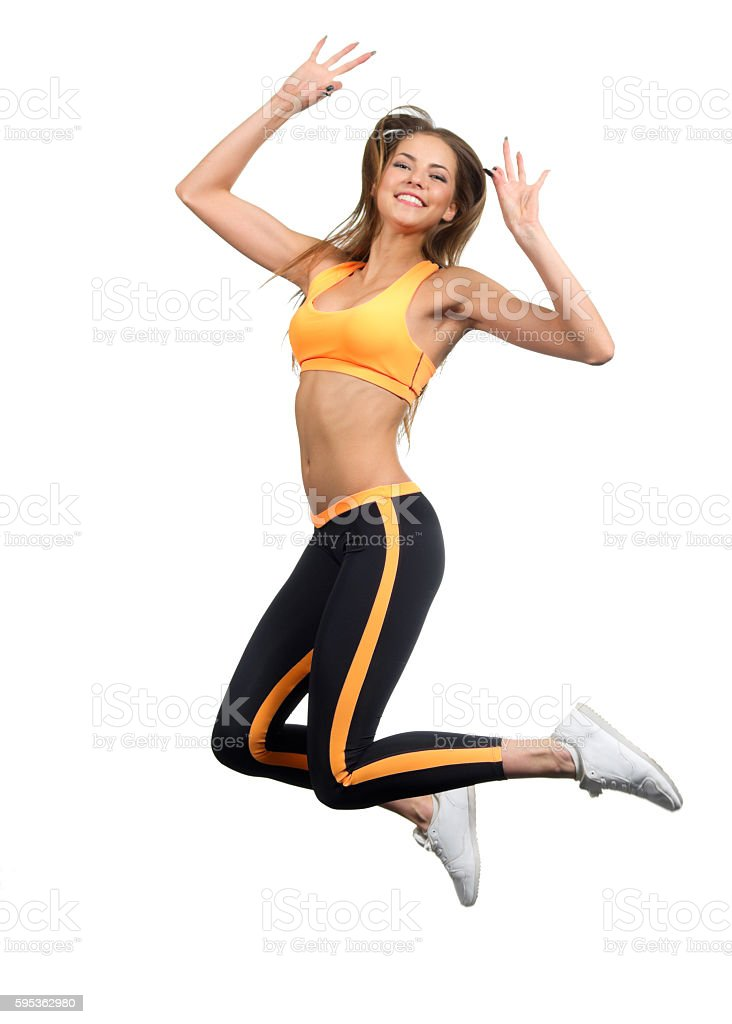 Young sporty girl isolated stock photo