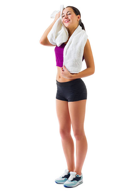 Young sporty girl with towel stock photo