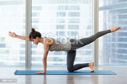 Young sporty female practicing yoga, doing Bird dog exercise, Donkey kick pose, working out wearing sportswear grey pants and top, indoor full length, yoga studio. Active lifestyle, wellbeing concept