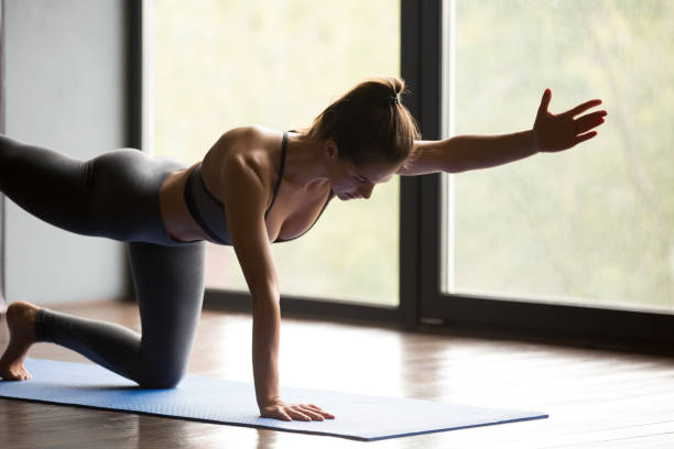 Young sporty woman doing Donkey exercise, close up Young sporty woman practicing yoga, doing Donkey, Kick exercise, Bird dog pose, working out, wearing sportswear, grey pants and top, indoor, yoga studio hunting dog stock pictures, royalty-free photos & images