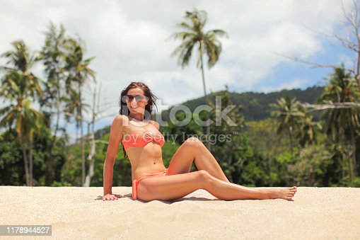 1155046257istockphoto Young sporty woman in orange bikini and sunglasses, sitting on the sand near beach, palm trees behind her. 1178944527