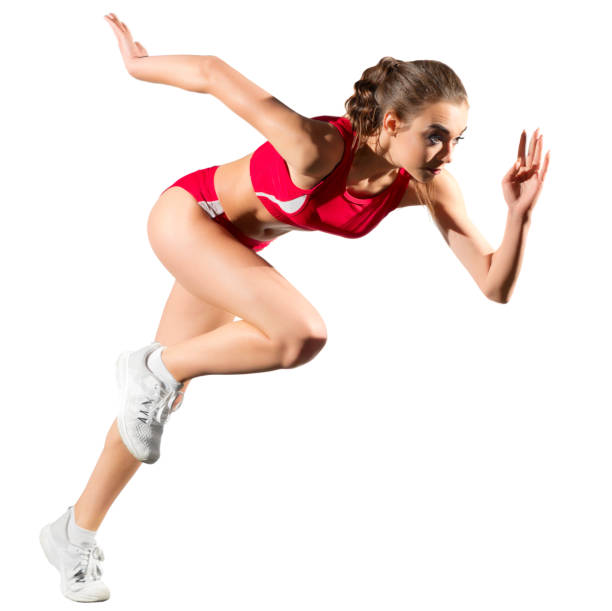 Young sporty woman isolated stock photo