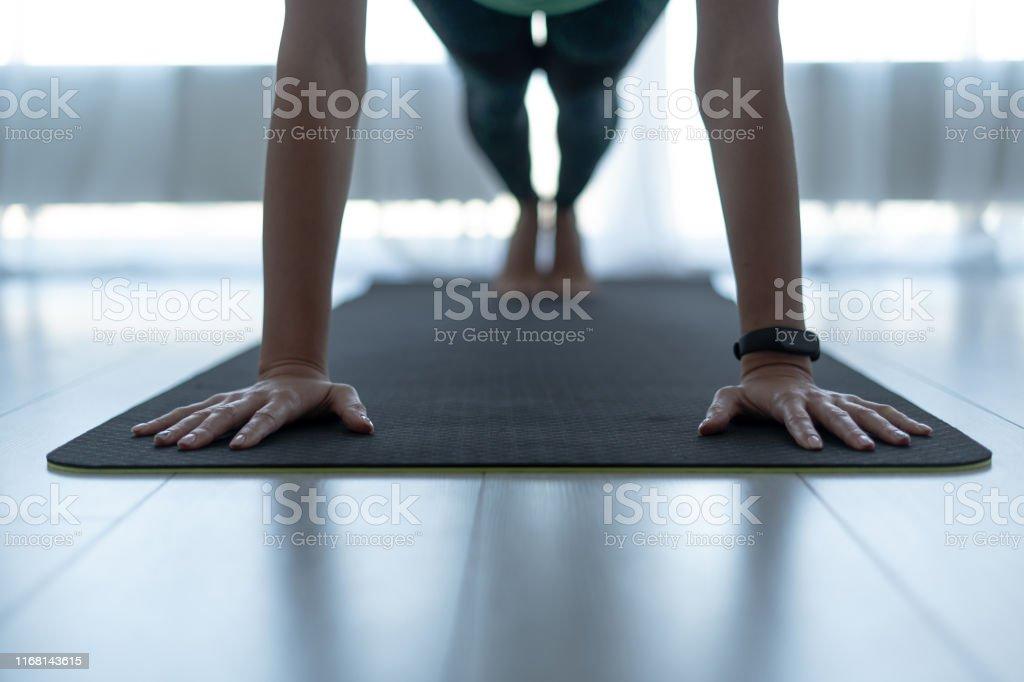 Jonge sportieve vrouw staande in plank pose op fitness mat - Royalty-free Activiteit Stockfoto