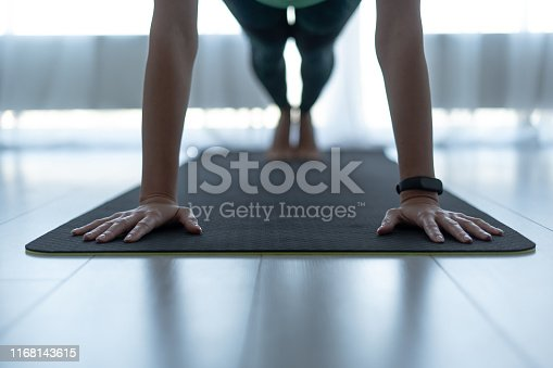 istock Young sporty woman standing in plank pose on fitness mat 1168143615