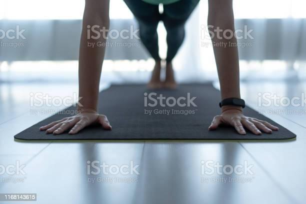 Jonge Sportieve Vrouw Staande In Plank Pose Op Fitness Mat Stockfoto en meer beelden van Activiteit