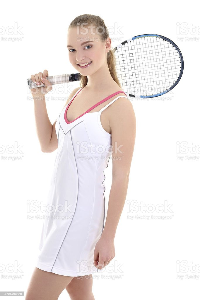young sporty woman with tennis racket royalty-free stock photo