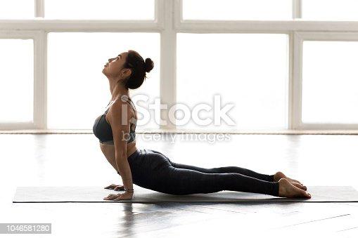 Young sporty yogi woman practicing yoga, doing upward facing dog exercise, Urdhva mukha shvanasana pose, working out, wearing sportswear, grey pants, top, indoor full length, at yoga studio