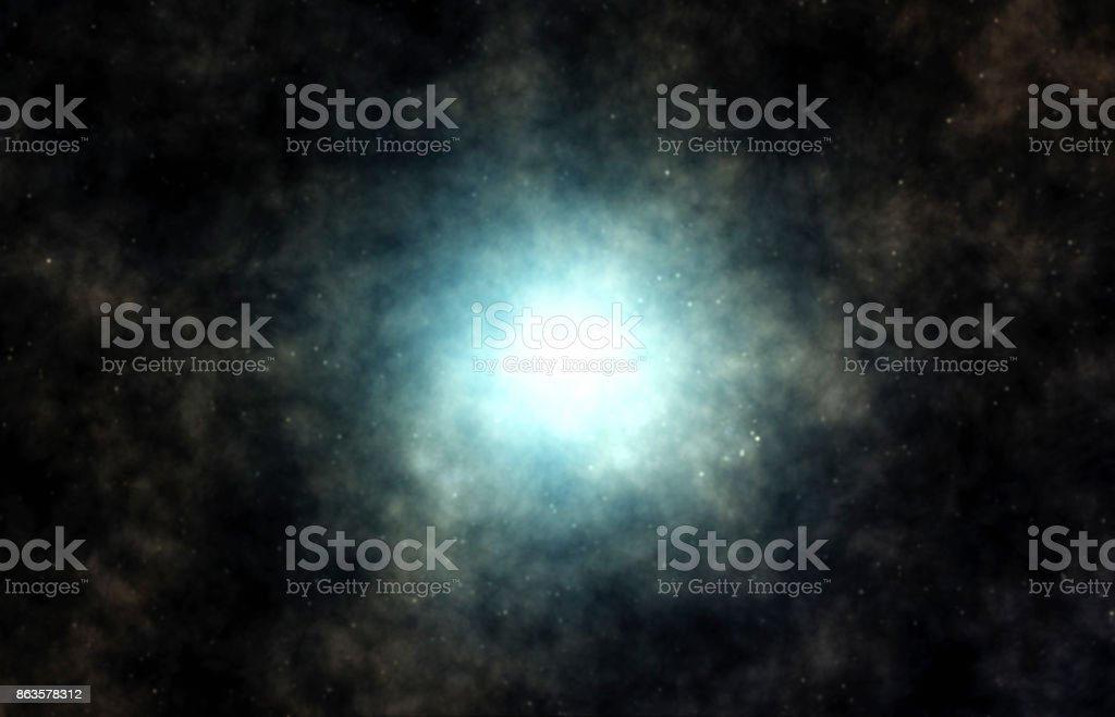 Young star forming inside a nebula cloud. Singularity, gravitational waves and spacetime concept. stock photo