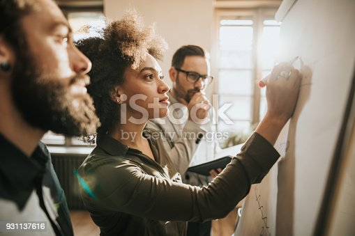 istock Young start up team drawing a business plan on whiteboard in the office. 931137616