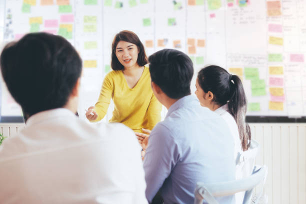 Young startups business people teamwork brainstorming meeting. stock photo