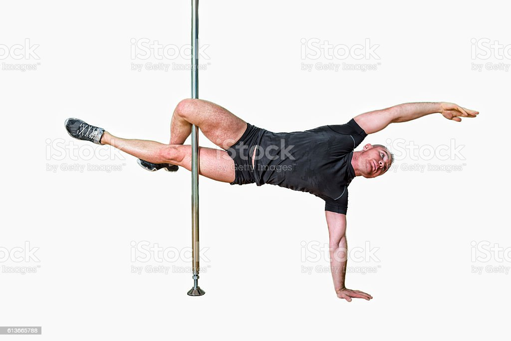 Young strong pole dance man isolated on white background - foto de stock