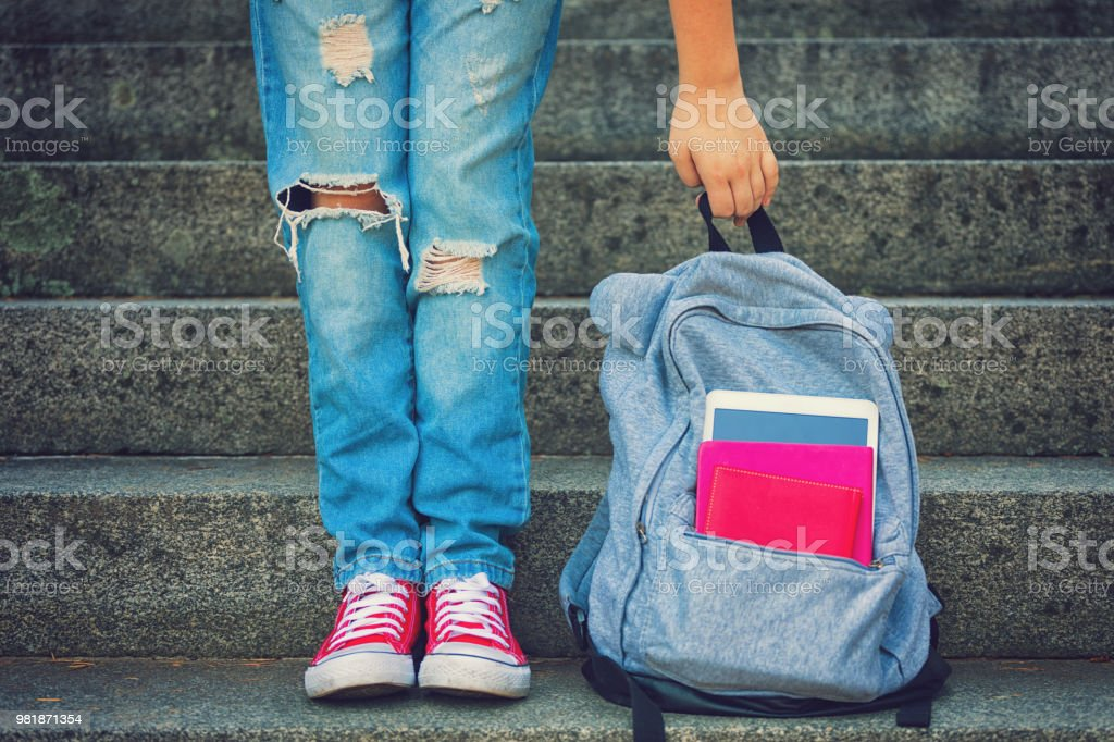 Young Student Girl With Backpack stock photo