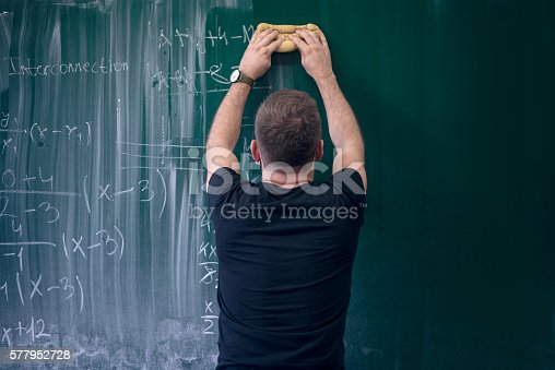 istock Young Student Holding the Eraser to Clean the Blackboard 577952728