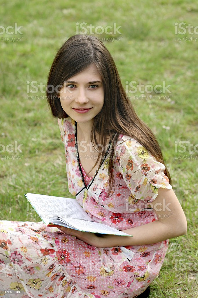 young student is reading a book royalty-free stock photo