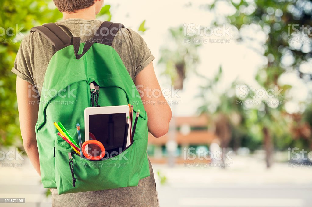 Young student man in campus stock photo