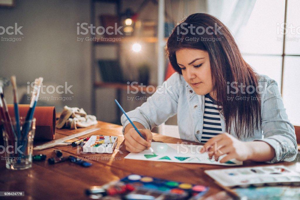 Junger Student Kunstschule vorbereiten – Foto