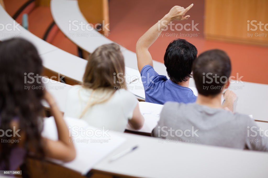 Young student raising his hand while his classmates are taking notes stock photo