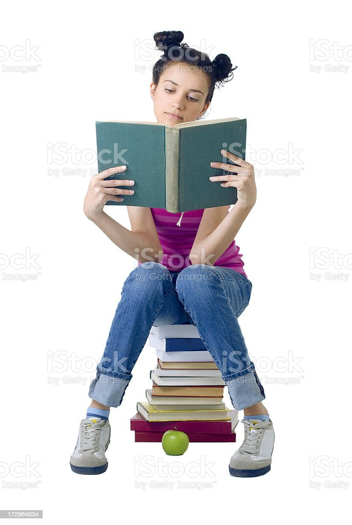 young student reading royalty-free stock photo