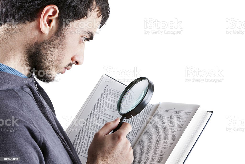 Young Student Searching on Book stock photo