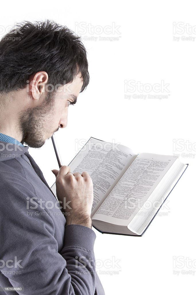 Young Student Searching on Dictionary royalty-free stock photo