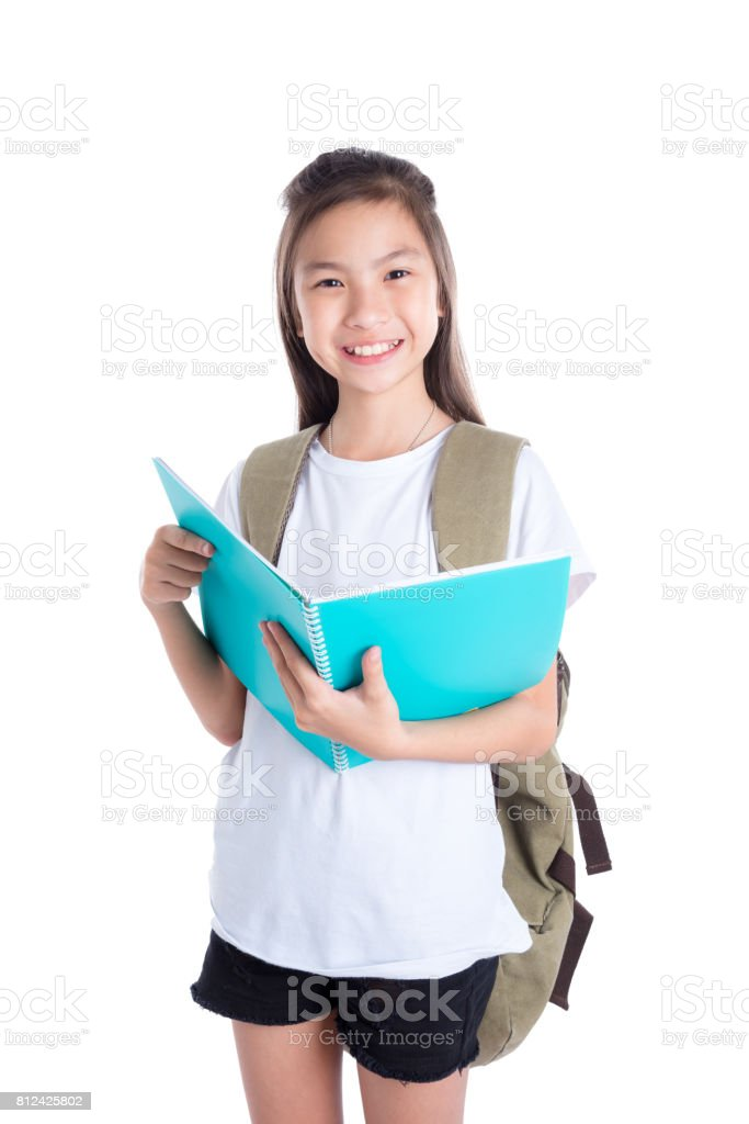 Young student smiling over white stock photo