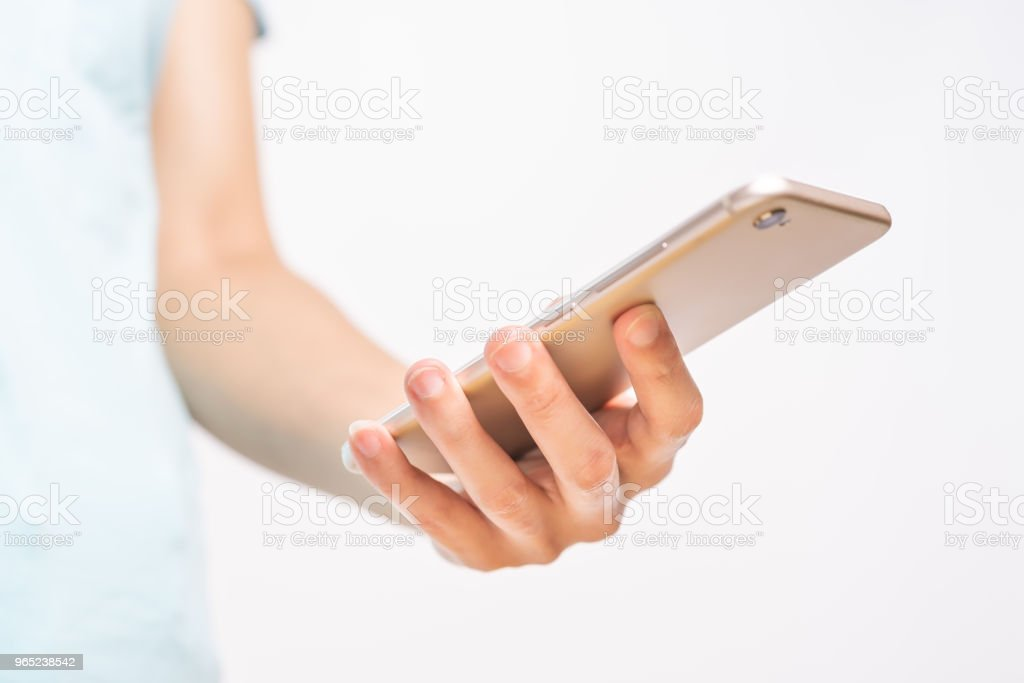 young student women shopping online on smartphone. business and modern lifestyle concept. blank smartphone display for copy space royalty-free stock photo