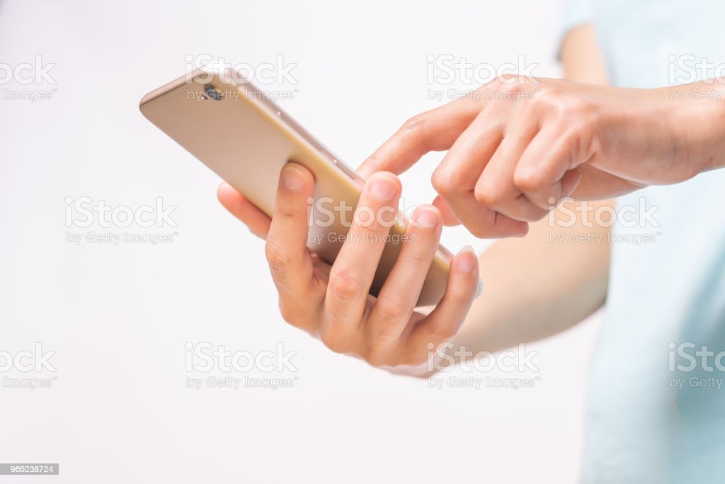 young student women shopping online on smartphone. business and modern lifestyle concept. blank smartphone display for copy space zbiór zdjęć royalty-free