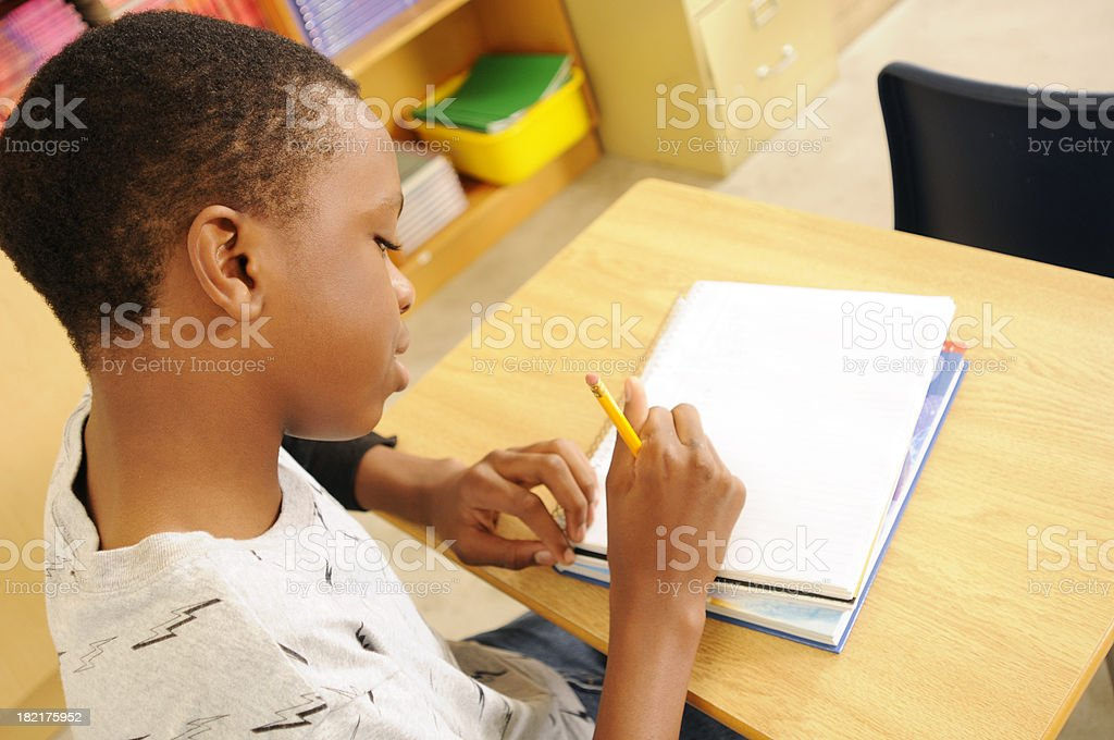 Young Student Writing royalty-free stock photo