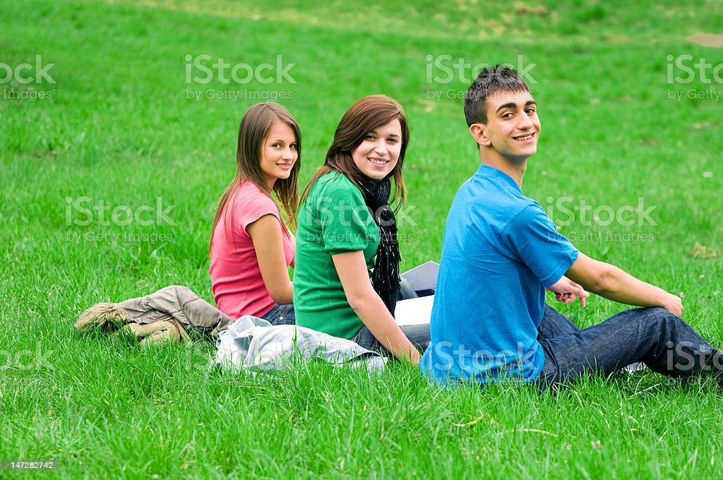 Young students learning outdoor royalty-free stock photo