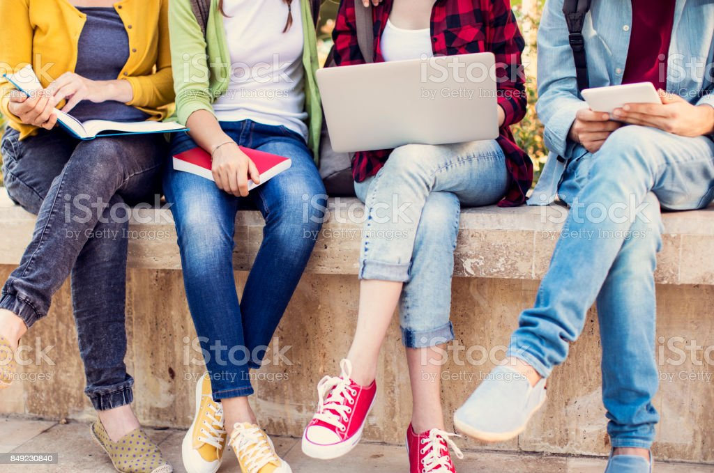 Young students on campus stock photo