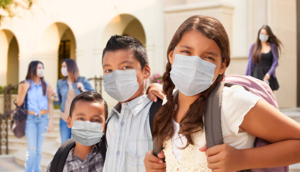 Young Students on School Campus Wearing Medical Face Masks stock photo