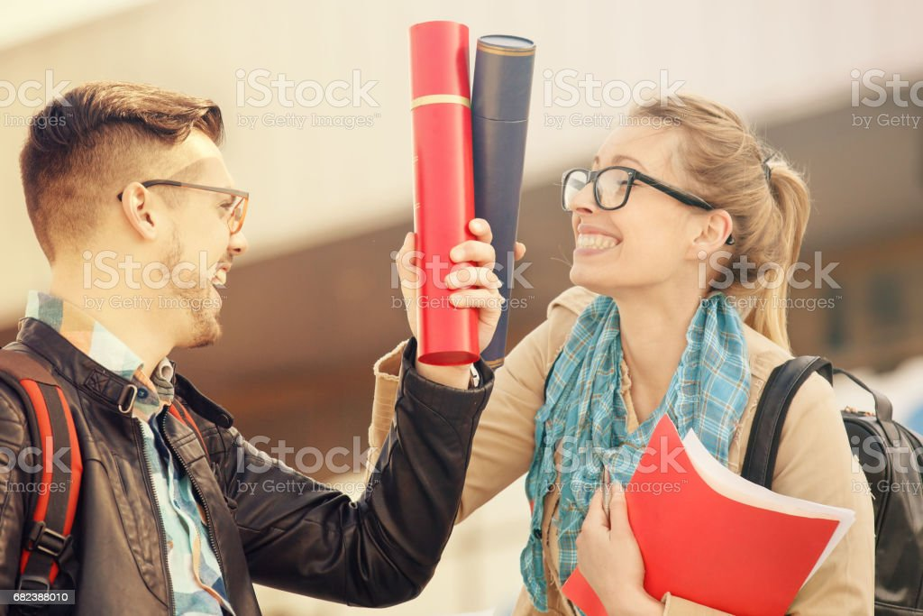 Young Students Outdoors royalty-free stock photo