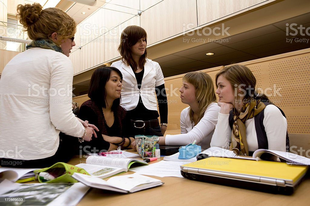 Young students studying in the library behind computer royalty-free stock photo