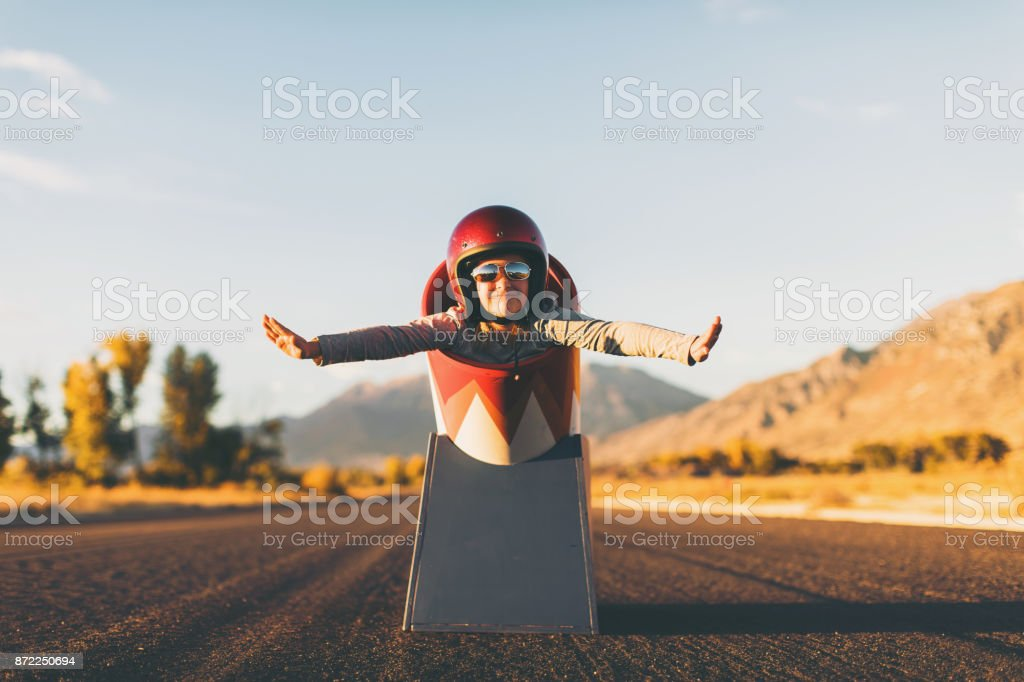 Young Stunt Girl and Human Cannon Ball stock photo