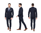 istock Young stylish businessman front rear side view isolated 936278632