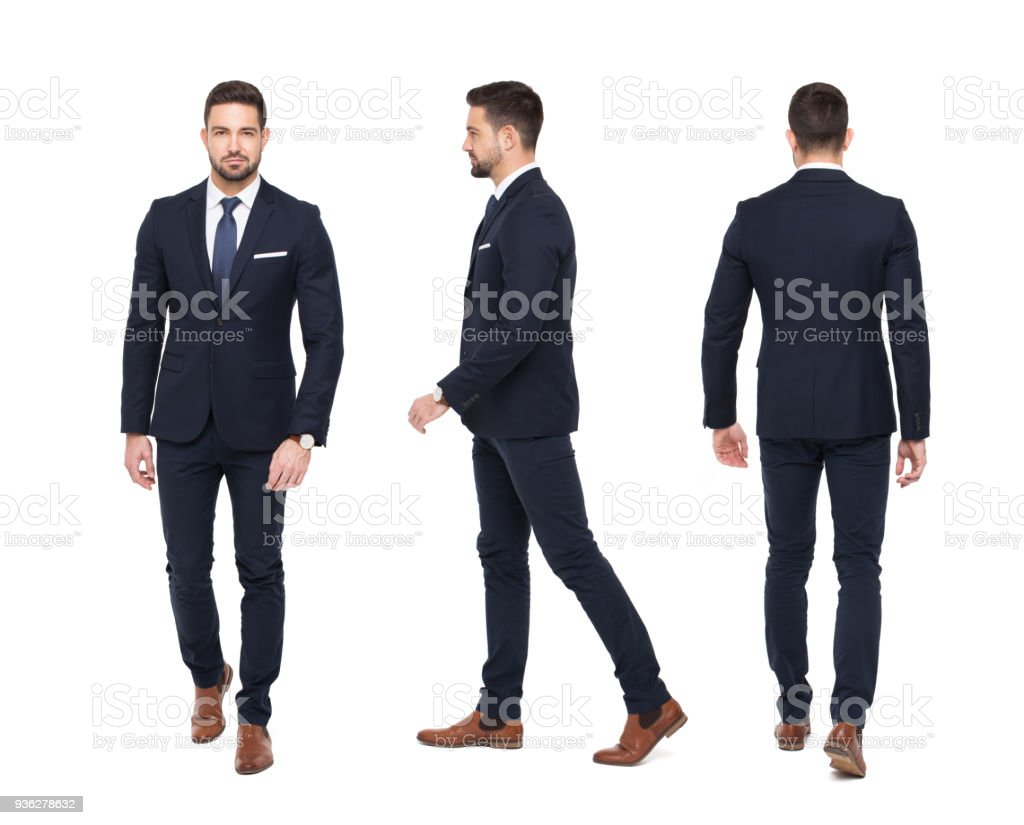 Young stylish businessman front rear side view isolated stock photo