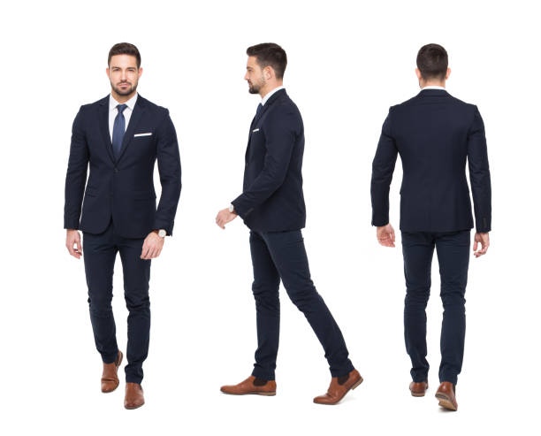 young stylish businessman front rear side view isolated - rear view stock photos and pictures