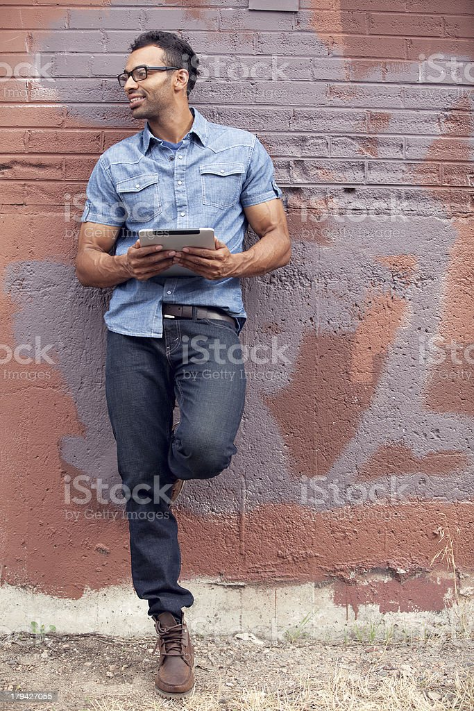 Young Stylish Man With Tablet royalty-free stock photo