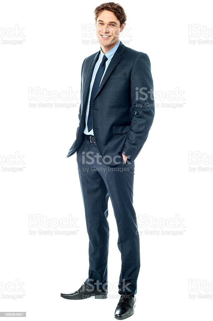 Young stylish smiling corporate guy stock photo