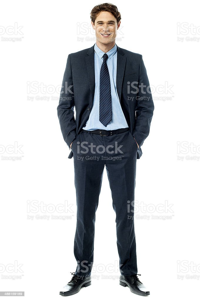Young stylish smiling sales executive stock photo