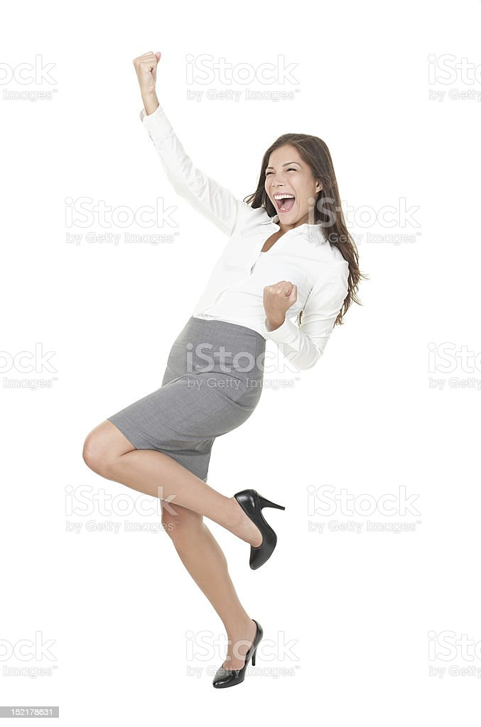 Young successful businesswoman celebrating Success stock photo