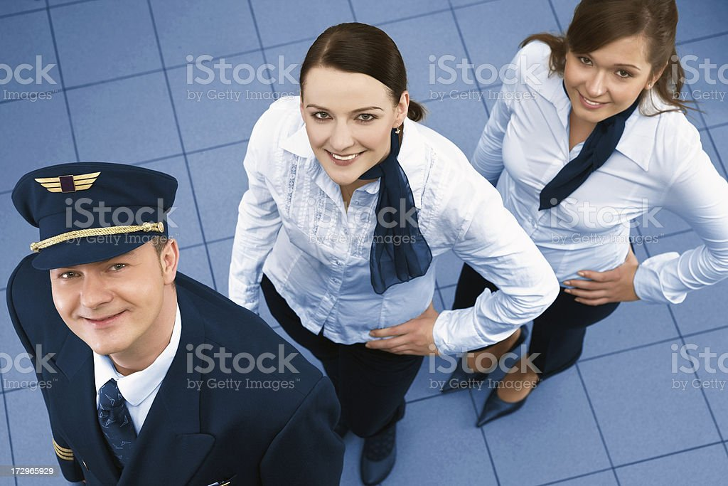 Young successful flight crew stock photo