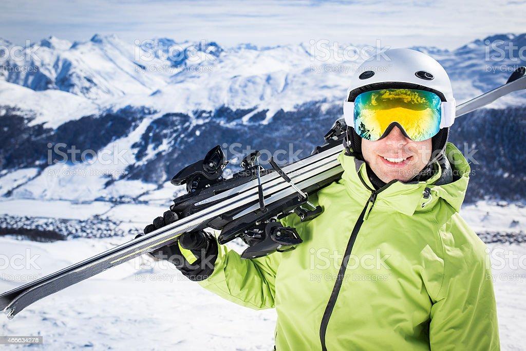 Young successful men ski mountain winter resort stock photo